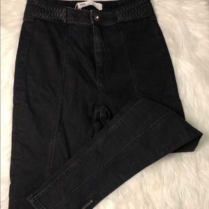 Zara z1975 denim high rise zip skinny jean